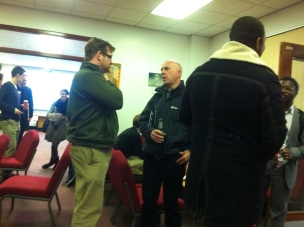 Jon Preece (UoB) and Tony Curtis (Keele) having a chat after the meeting
