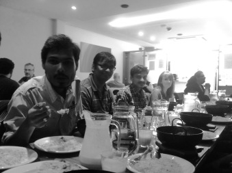Arka, Deepak , Shubhadeep and Marion enjoying their Balti