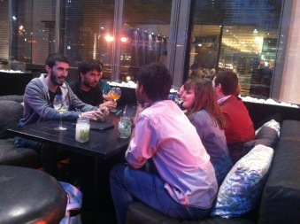 Nacho, Nico, Daniel, Marion and Arka in conversation after the meal