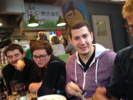 Nico, Carla and Daniel waiting for the food